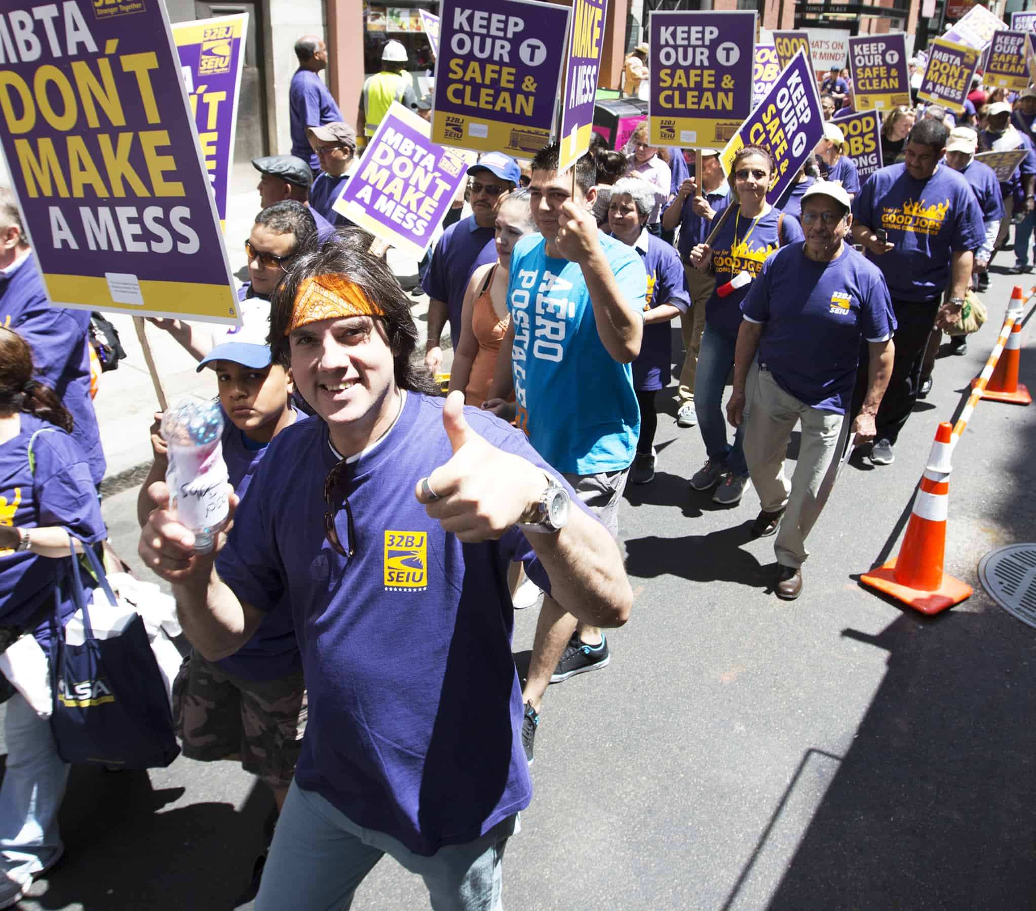 32BJ SEIU District 615 members at a Justice for Janitors March and Rally in Boston, Massachusetts on Saturday, June 21, 2014. Rose Lincoln Photo