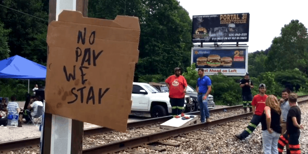 Still from Wright, These Kentucky miners blocked a train. They said they're here to stay. (1:38)