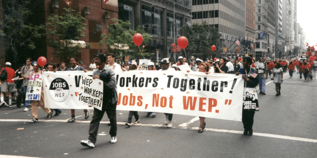 WEP Workers Together marching in New York City's Labor Day parade.